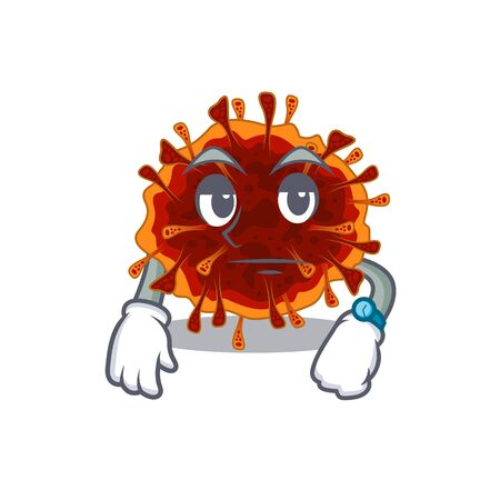 Delta coronavirus on waiting gesture mascot design style. Vector illustration