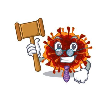 Charismatic Judge delta coronavirus cartoon character design wearing cute glasses. Vector illustration