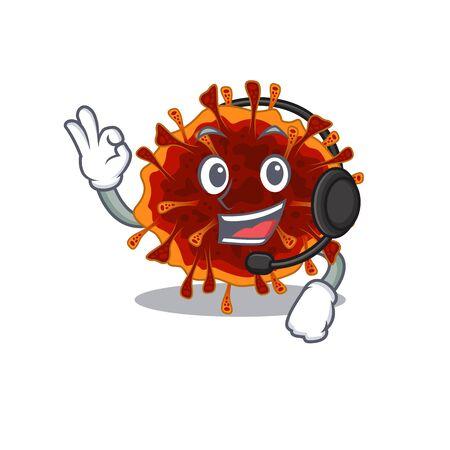 Charming delta coronavirus cartoon character design wearing headphone. Vector illustration