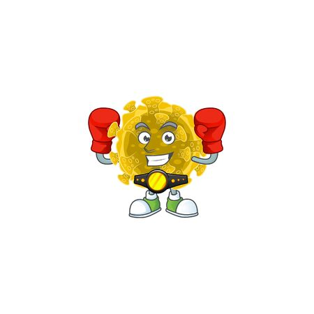 A sporty boxing of infectious coronavirus mascot design style