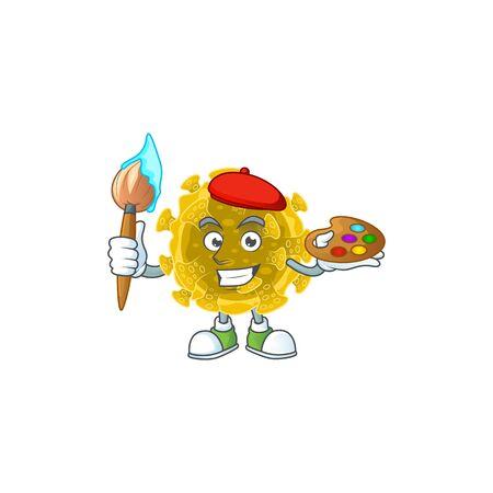 An artistic infectious coronavirus artist cartoon design using a brush