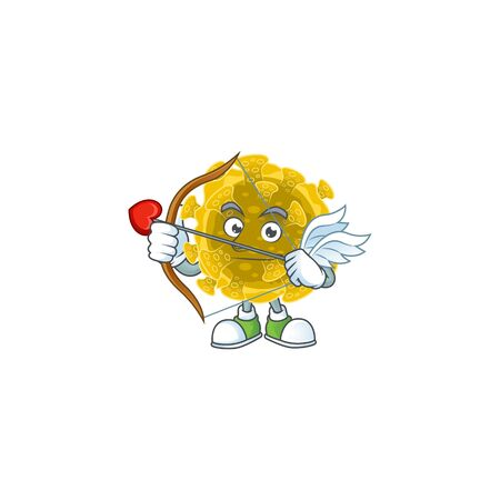 Sweet cartoon character of infectious coronavirus Cupid with arrow and wings