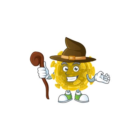 sweet and tricky Witch infectious coronavirus cartoon character