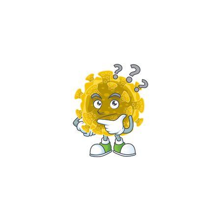 Cute infectious coronavirus cartoon character using a microphone Ilustração
