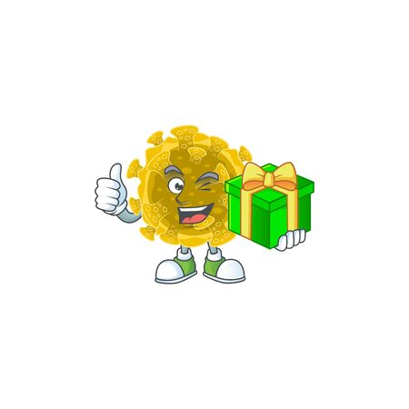 Cheerful infectious coronavirus cartoon character holding a gift box Ilustrace