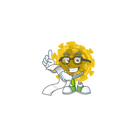 cartoon character of infectious coronavirus holding menu on his hand Ilustracja