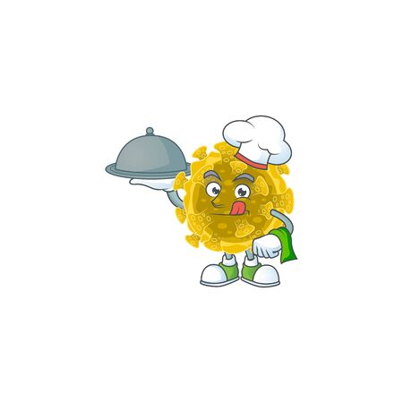 chef cartoon character of infectious coronavirus with food on tray Ilustracja