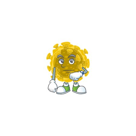 A cartoon icon of infectious coronavirus with waiting gesture