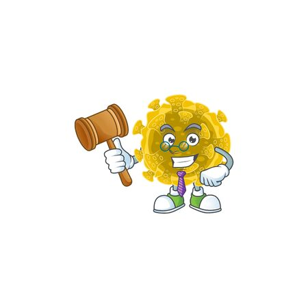 Infectious coronavirus wise judge cartoon character design with cute glasses