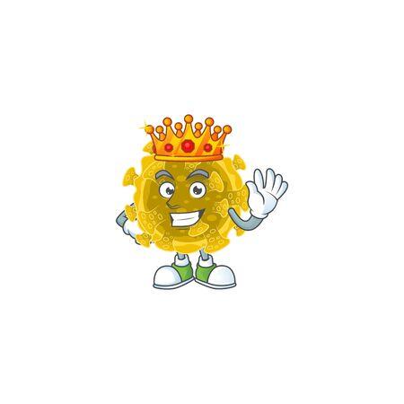A Charismatic King of infectious coronavirus cartoon character design