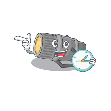 Cheerful underwater flashlight cartoon character style with clock. Vector illustration
