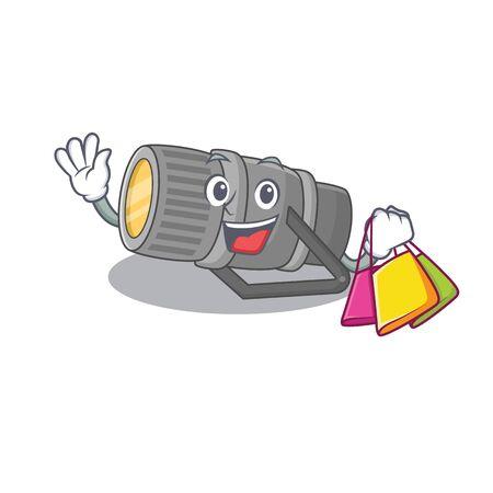 Happy rich underwater flashlight mascot design waving and holding Shopping bag. Vector illustration