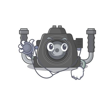 An elegant underwater camera in a Doctor Cartoon character with tools. Vector illustration