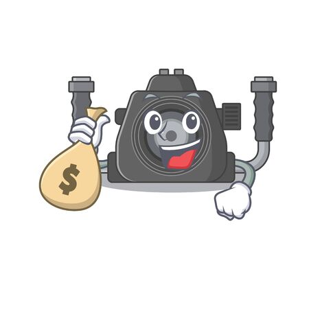 Smiley rich underwater camera cartoon character bring money bags. Vector illustration Ilustracja