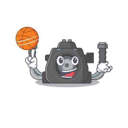 A sporty underwater camera cartoon mascot design playing basketball. Vector illustration 向量圖像