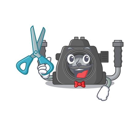 Cool Barber underwater camera mascot design style. Vector illustration