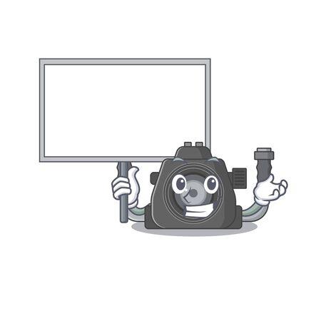 Underwater camera cute cartoon character bring a board. Vector illustration