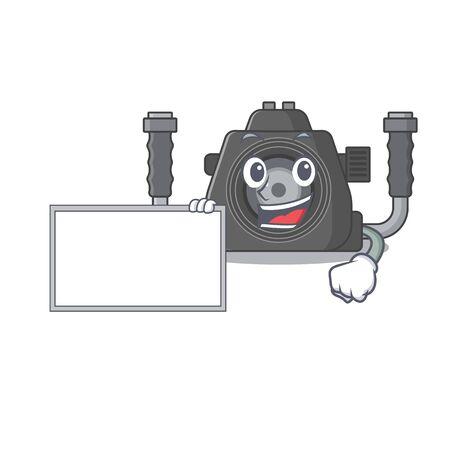 Underwater camera with board cartoon mascot design style. Vector illustration