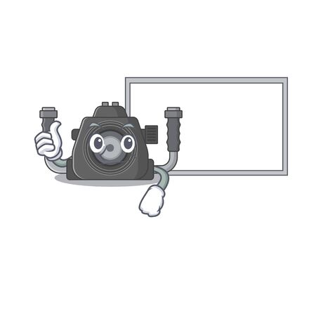 cute underwater camera cartoon character Thumbs up bring a white board. Vector illustration Ilustracja