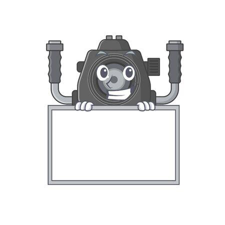 Smiley underwater camera cartoon character style bring board. Vector illustration 向量圖像