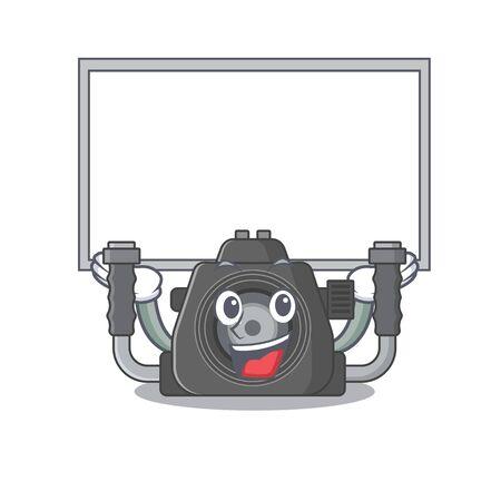 Happy cartoon character of underwater camera raised up board. Vector illustration