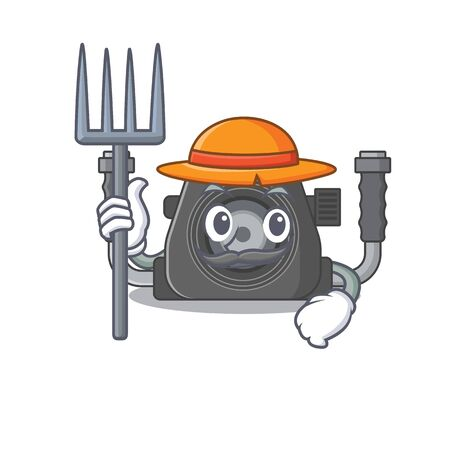 Underwater camera in Farmer cartoon character with hat and pitchfork. Vector illustration
