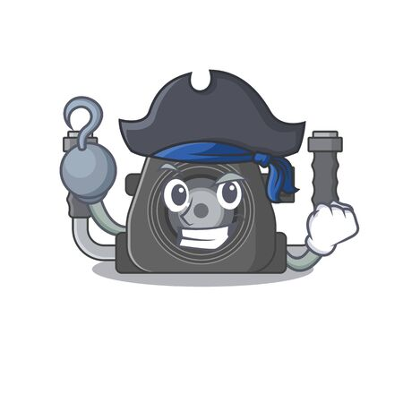 Cool underwater camera in one hand Pirate cartoon design style with hat. Vector illustration