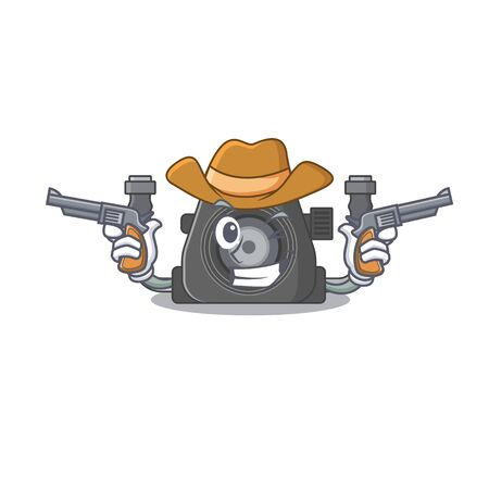 Funny underwater camera as a cowboy cartoon character holding guns. Vector illustration