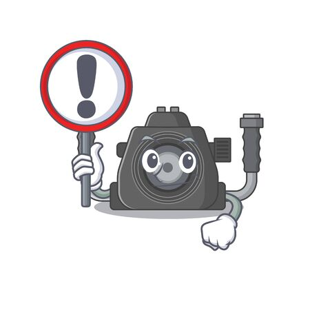 Cheerful cartoon style of underwater camera holding a sign. Vector illustration