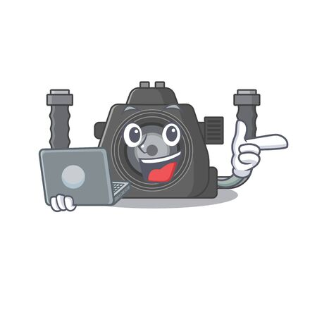 An icon of smart underwater camera working with laptop. Vector illustration