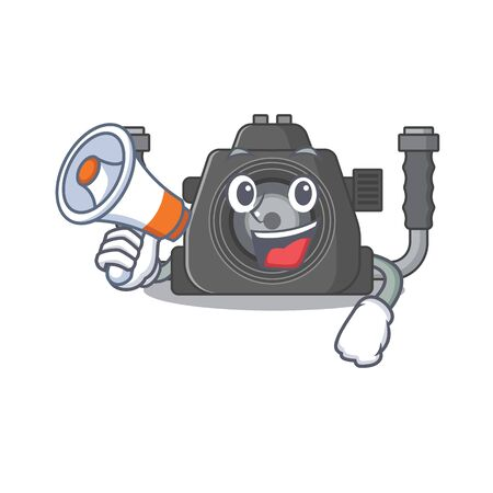 An icon of underwater camera holding a megaphone. Vector illustration