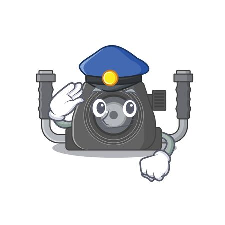 A picture of underwater camera performed as a Police officer. Vector illustration
