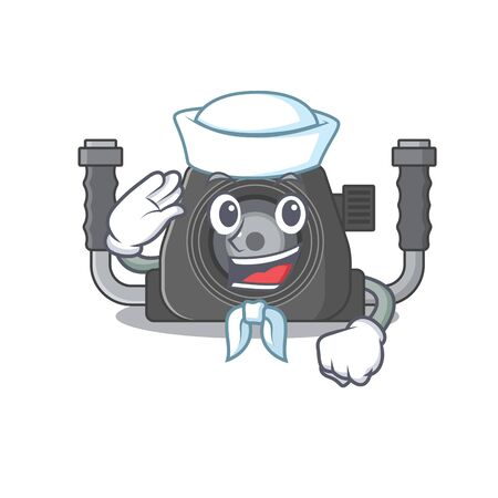Cute underwater camera Sailor cartoon character wearing white hat. Vector illustration