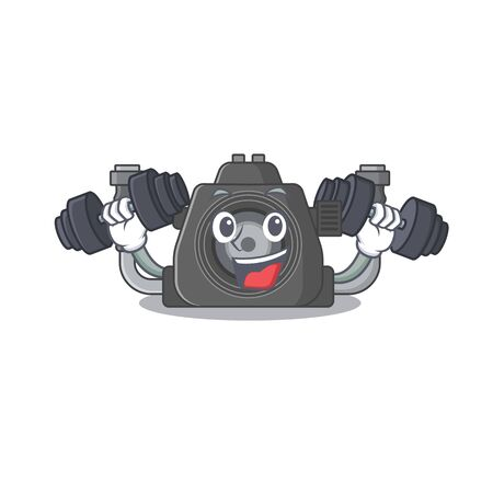 Smiley Fitness exercise underwater camera cartoon character raising barbells. Vector illustration