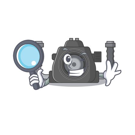Underwater camera in Smart Detective picture character design. Vector illustration