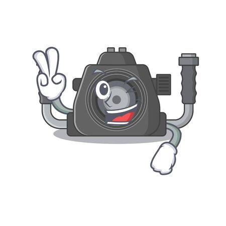 Cheerful underwater camera mascot design with two fingers. Vector illustration Ilustracja