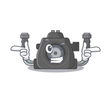 Smiley underwater camera cartoon design style showing wink eye. Vector illustration