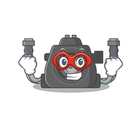 A picture of underwater camera in a Super hero cartoon character. Vector illustration