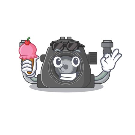 cartoon character of underwater camera holding an ice cream. Vector illustration