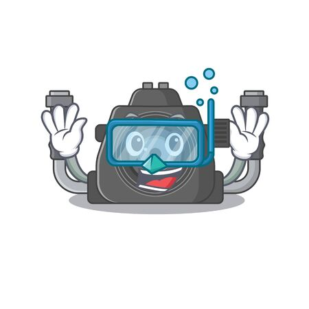 A cartoon picture featuring underwater camera wearing Diving glasses. Vector illustration