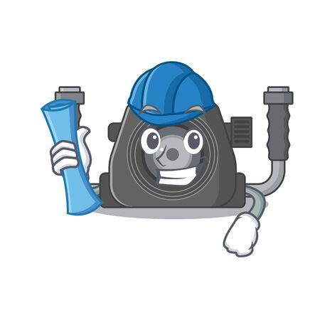 Smiling Architect of underwater camera having blue prints and blue helmet. Vector illustration