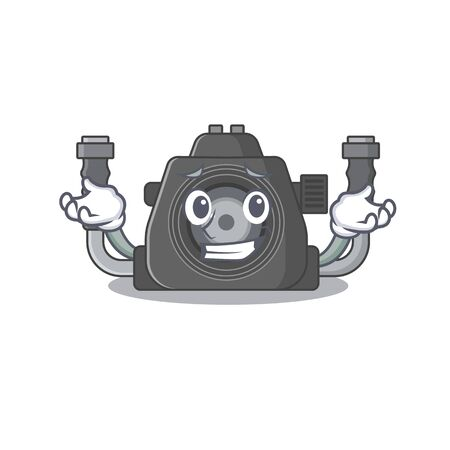 Happy face of underwater camera mascot cartoon style. Vector illustration