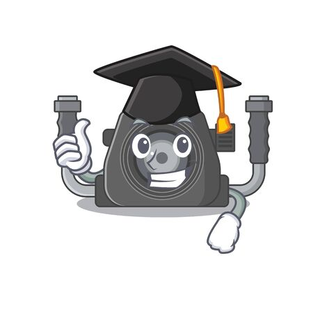 A picture of underwater camera with black hat for graduation ceremony. Vector illustration Ilustracja