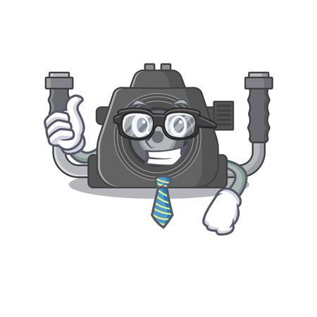 Underwater camera Businessman cartoon character with glasses and tie. Vector illustration 向量圖像