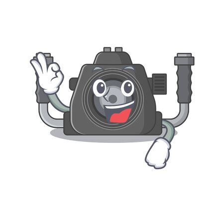 Underwater camera cartoon character design style making an Okay gesture. Vector illustration