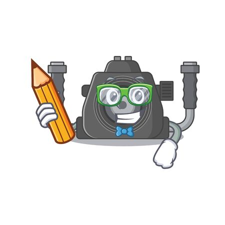 A smart student underwater camera character with a pencil and glasses. Vector illustration