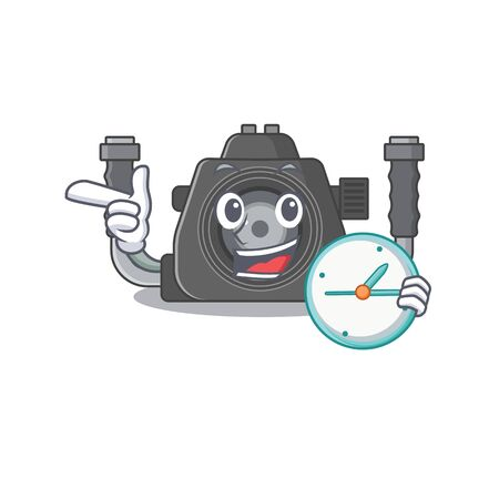 Cheerful underwater camera cartoon character style with clock. Vector illustration Ilustracja