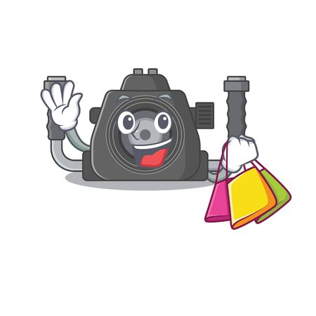 Happy rich underwater camera mascot design waving and holding Shopping bag. Vector illustration Ilustracja