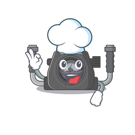 Cute underwater camera cartoon character wearing white chef hat. Vector illustration