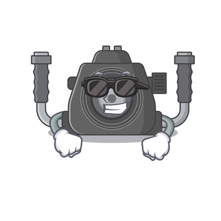 Super cool underwater camera mascot character wearing black glasses. Vector illustration